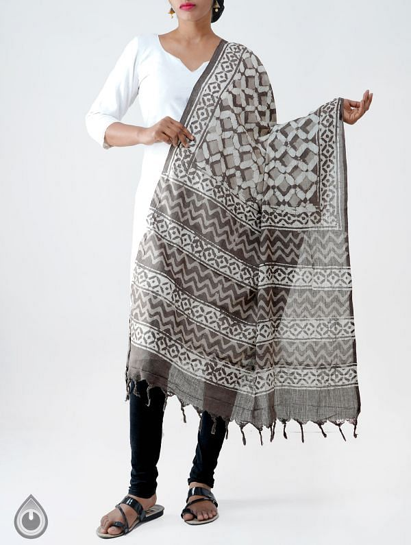 Online Shopping for Grey Pure Dabu Printed  Rajasthani Cotton Dupatta with Dabu prints from Rajasthan at Unnatisilks.com India