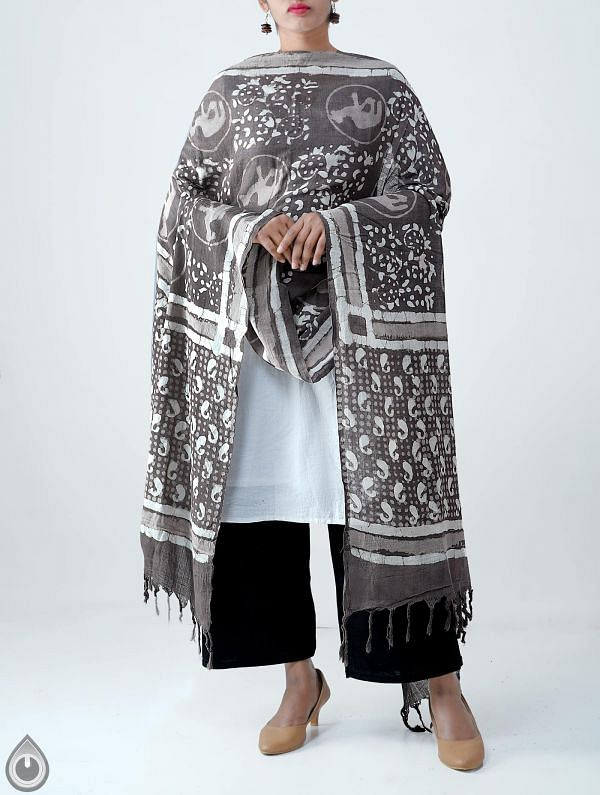 Grey Pure Dabu Printed  Rajasthani Cotton Dupatta