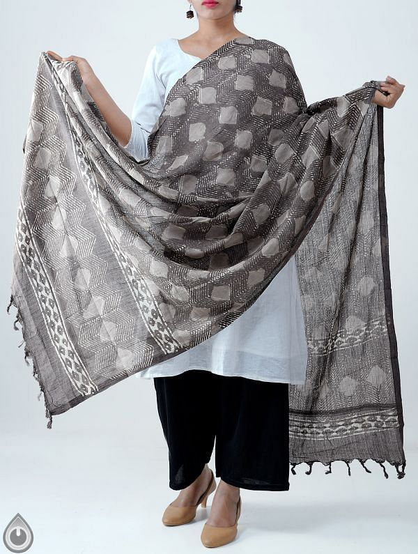 Grey Pure Dabu Printed  Rajasthani Cotton Dupatta-UDSP2025