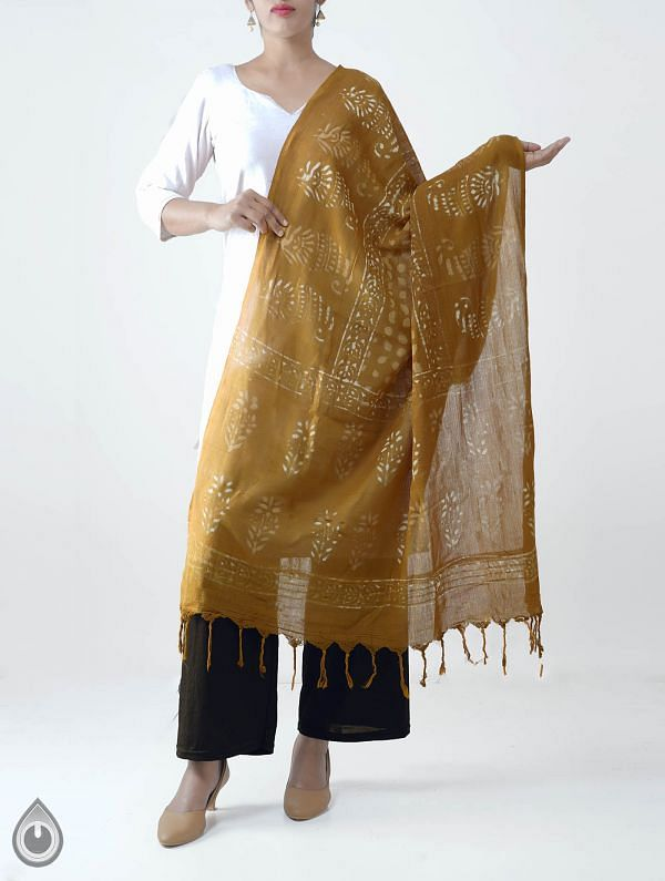 Yellow Pure Dabu Printed  Rajasthani Cotton Dupatta-UDSP2036