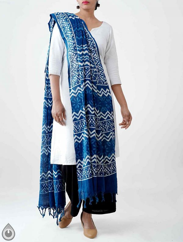 Online Shopping for Blue Pure Dabu Printed Rajasthani Cotton Dupatta with Dabu prints from Rajasthan  at Unnatisilks.com India