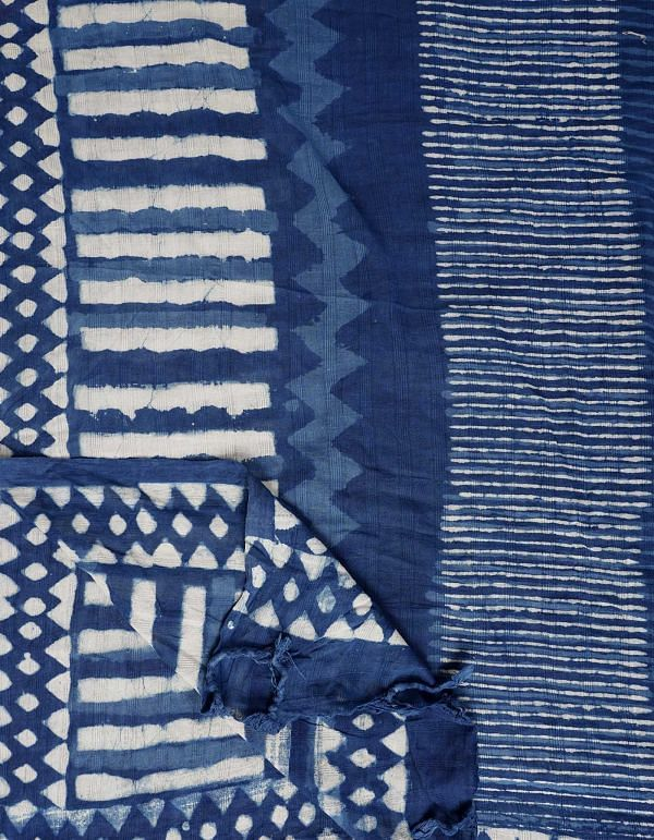 Blue Pure Dabu Printed  Rajasthani Cotton Dupatta