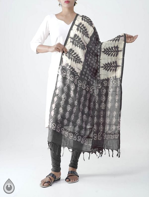Grey Pure Dabu Printed  Rajasthani Cotton Dupatta-UDSP2092