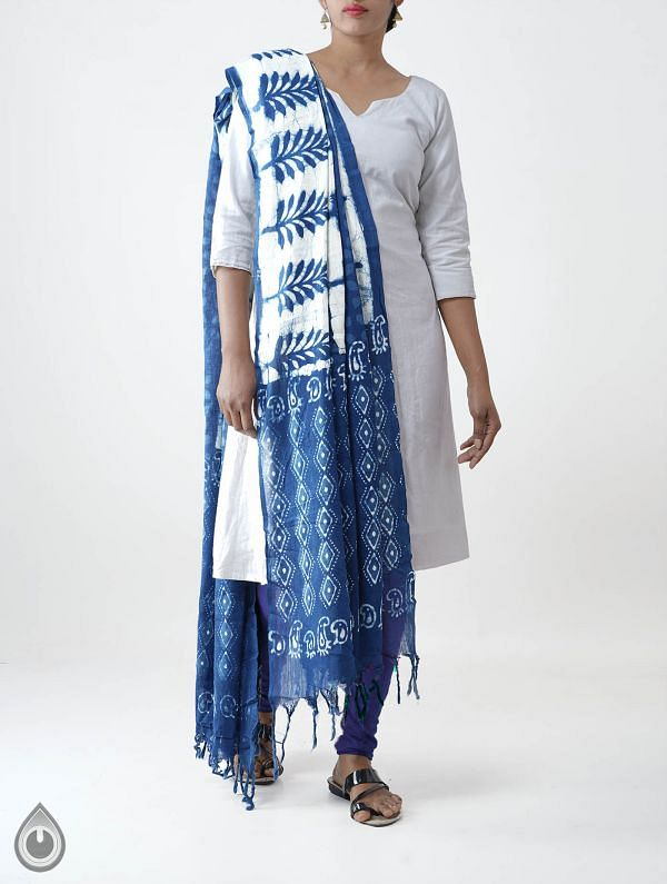 Online Shopping for Blue Pure Dabu Printed  Rajasthani Cotton Dupatta with Dabu prints. from Rajasthan at Unnatisilks.com India