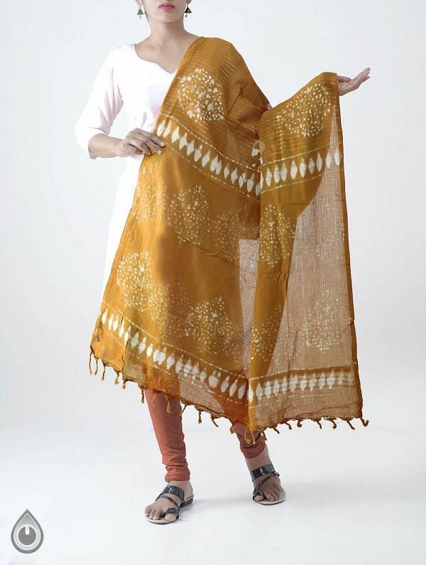 Online Shopping for Yellow Pure Dabu Printed  Rajasthani Cotton Dupatta with Dabu prints from Rajasthan at Unnatisilks.com India