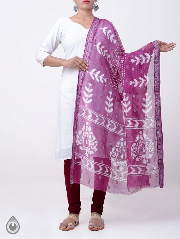 Online Shopping for Pink Pure Kota Cotton Dupatta with Dabu Prints from Rajasthan at Unnatisilks.comIndia