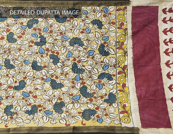 Online Shopping for Yellow Brindavanam Kalamkari Hand Painted Pure Cotton Dupatta with Kalamkari Hand Paints from Andhra Pradesh at Unnatisilks.comIndia