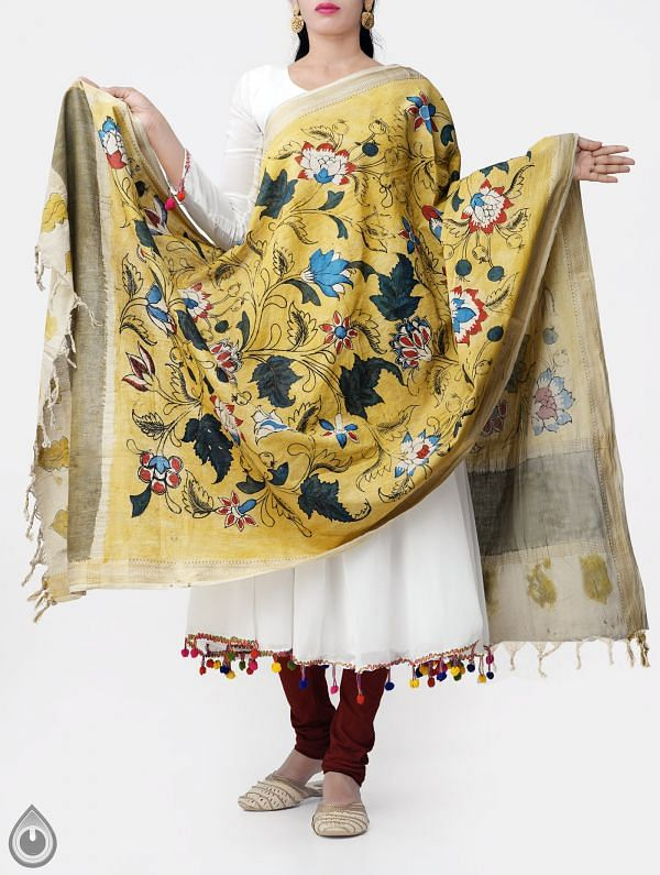 Yellow Autunm Blue Roses Kalamkari Hand Painted Pure Cotton Dupatta-UDS2336
