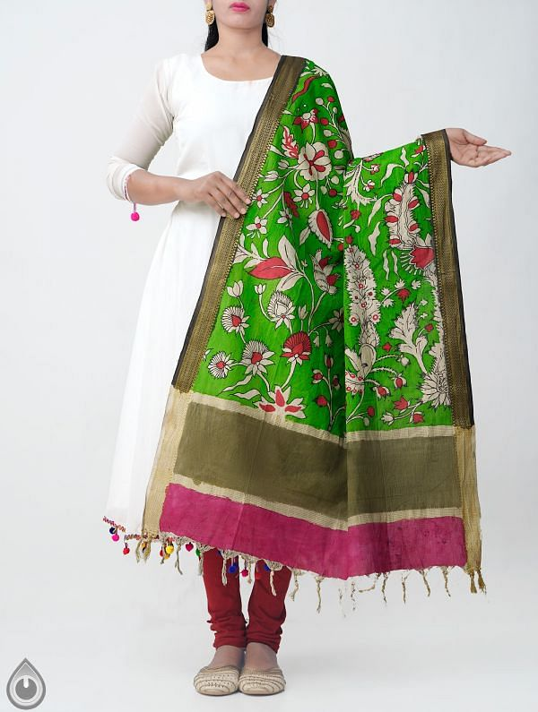 Green Sunderban Kalamkari Hand Painted Pure Cotton Dupatta-UDS2345