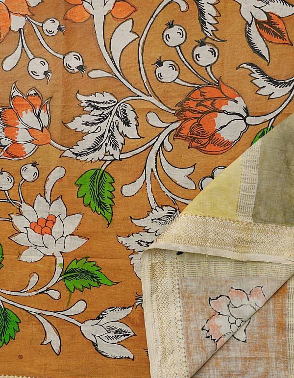 Orange Floral Kalamkari Hand Painted Pure Cotton Dupatta-UDS2346
