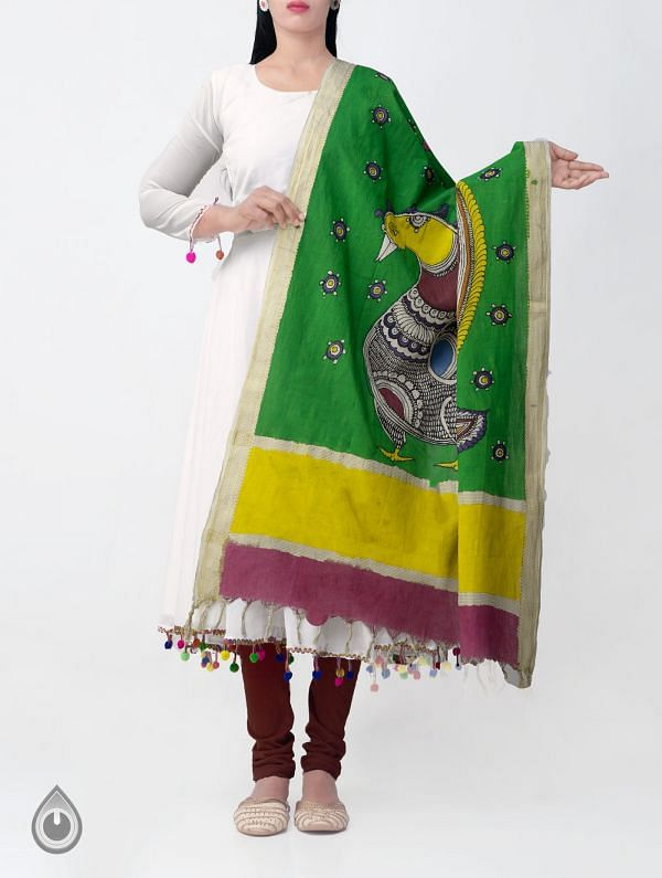 Green Mayur and Mayuri Kalamkari Hand Painted Pure Cotton Dupatta-UDS2350