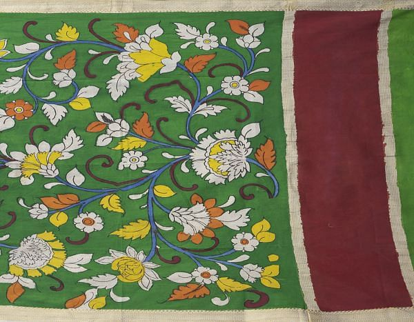 Green Summer Floral Kalamkari Hand Painted Pure Cotton Dupatta-UDS2351