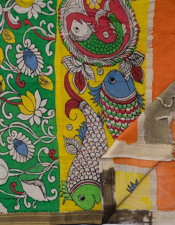 Green Matsya Padma Kalamkari Hand Painted Pure Cotton Dupatta-UDS2354