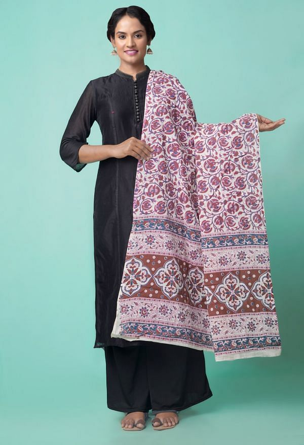 Online Shopping for Ivory Pure Rajasthani Cotton Dupatta  with Weaving from Andhra Pradesh at Unnatisilks.comIndia