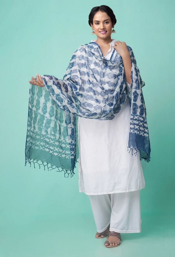 Online Shopping for Indigo Blue Pure Kota Cotton Dupatta  with Weaving from Andhra Pradesh at Unnatisilks.comIndia