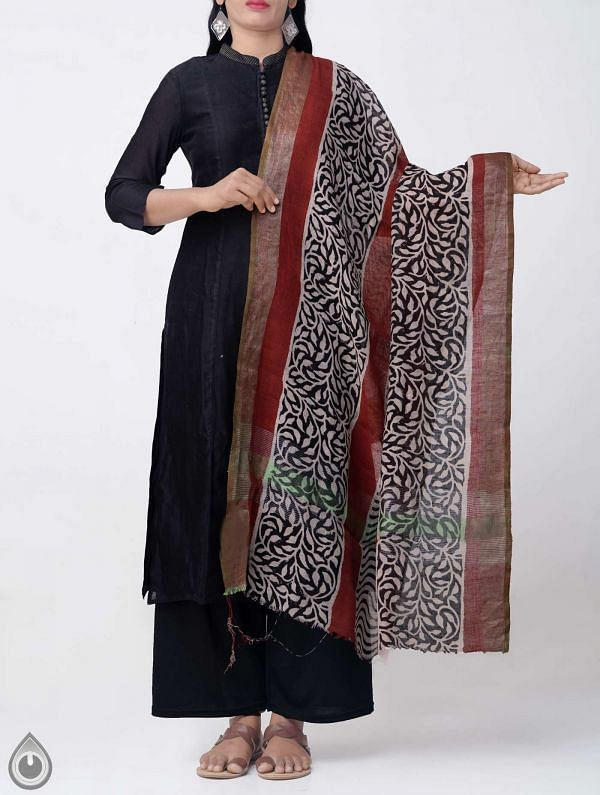 Online Shopping for Ivory Bagru Printed Pure Linen Dupatta with Bagru Prints from Rajasthan at Unnatisilks.comIndia