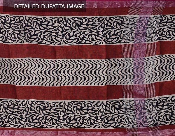 Online Shopping for Ivory Bagru Printed Pure Linen Dupatta with Bagru Prints from Chattisgarh at Unnatisilks.comIndia