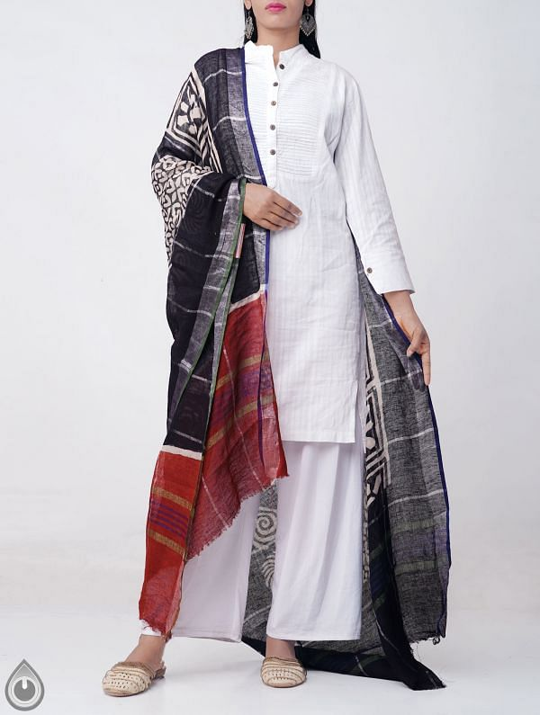Black Bagru Printed Pure Linen Checks Dupatta