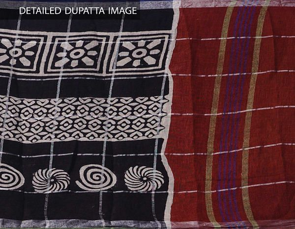 Online Shopping for Black Bagru Printed Pure Linen Checks Dupatta with Bagru Prints from Rajasthan at Unnatisilks.comIndia