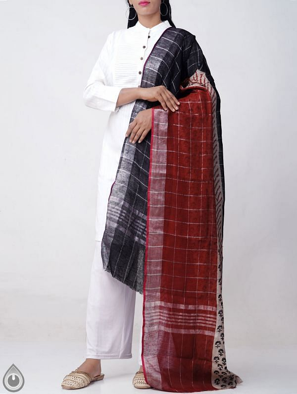 Online Shopping for Multicolor Bagru Printed Pure Linen Checks Dupatta with Bagru Prints from Rajasthan at Unnatisilks.comIndia