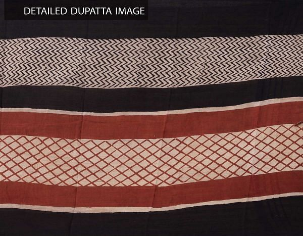 Online Shopping for Black Bagru Printed Pure Cotton Dupatta with Bagru Prints from Rajasthan at Unnatisilks.comIndia