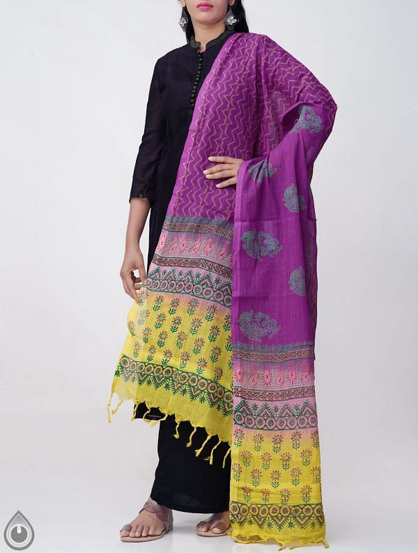 Online Shopping for Violet Andhra Kotpad Cotton Dupatta with Hand block Prints with Hand Block Prints from Andhra Pradesh at Unnatisilks.comIndia