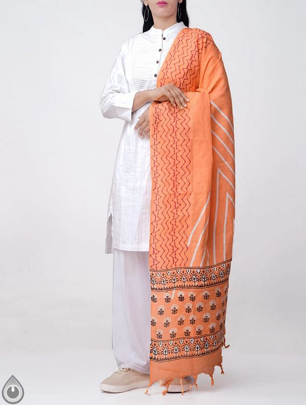 Online Shopping for Orange Andhra Kotpad Cotton Dupatta with Hand block Prints with Hand Block Prints from Andhra Pradesh at Unnatisilks.comIndia