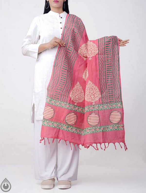 Online Shopping for Pink Andhra Kotpad Cotton Dupatta with Hand block Prints with Hand Block Prints from Andhra Pradesh at Unnatisilks.comIndia