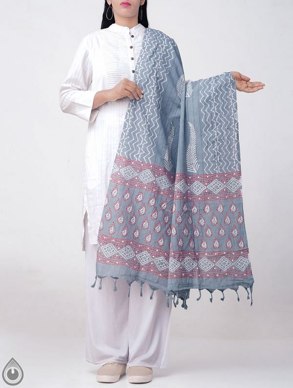 Online Shopping for Blue Andhra Kotpad Cotton Dupatta with Hand block Prints with Hand Block Prints from Andhra Pradesh at Unnatisilks.comIndia