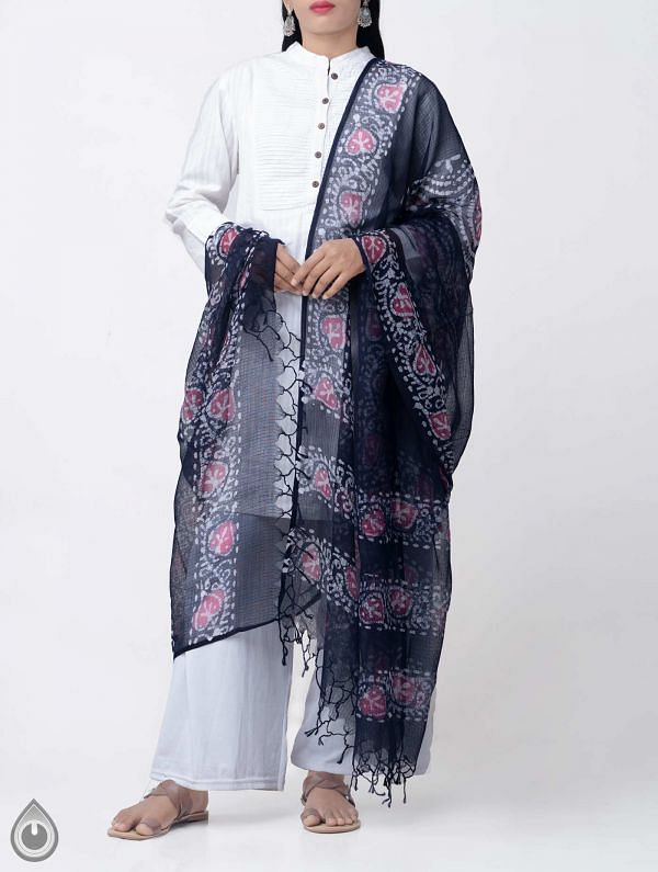 Online Shopping for Blue Pure Hand Batik Kota Cotton Dupatta with Hand Block Prints from Rajasthan at Unnatisilks.comIndia