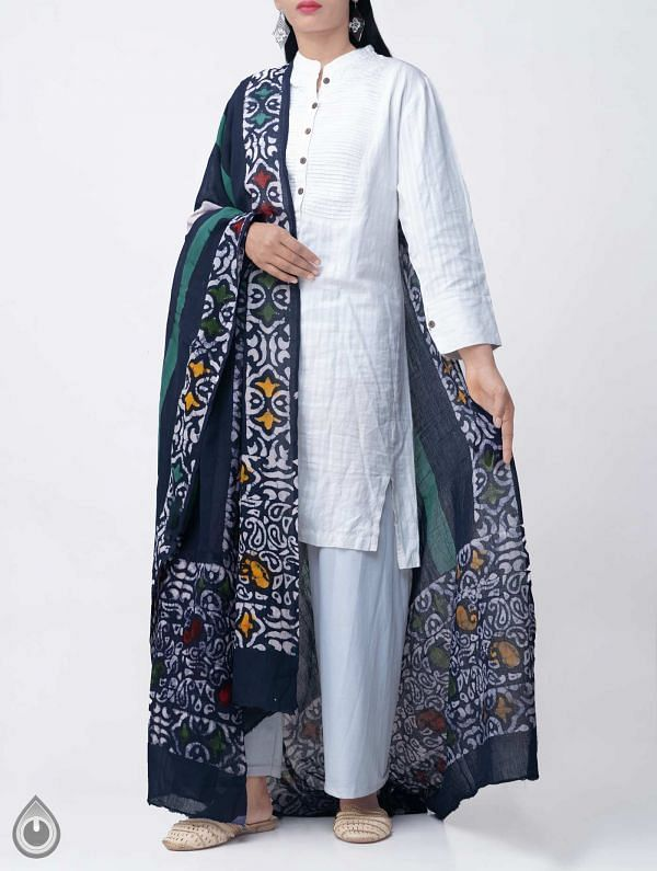 Online Shopping for Blue Pure Soft Mulmul Cotton Dupatta with Hand Batik Prints from Rajasthan at Unnatisilks.comIndia