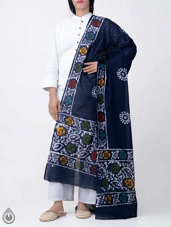 Online Shopping for Blue Hand Batik Pure Soft Mulmul Cotton Dupatta with Hand Batik Prints from Rajasthan at Unnatisilks.comIndia