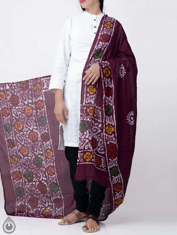 Online Shopping for Burgundy Pure Soft Mulmul Cotton Dupatta with Hand Batik Prints from Rajasthan at Unnatisilks.comIndia