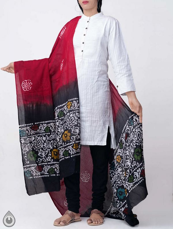 Online Shopping for Red Hand Batik Pure Soft Mulmul Cotton Dupatta with Hand Batik Prints from Rajasthan at Unnatisilks.comIndia
