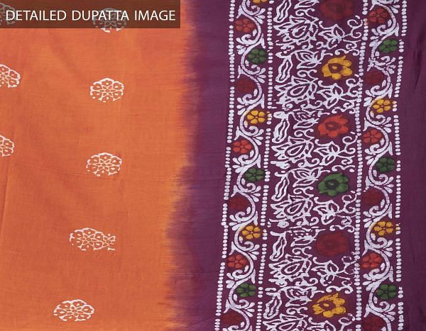 Online Shopping for Orange Pure Soft Mulmul Cotton Dupatta with Hand Batik Prints from Rajasthan at Unnatisilks.comIndia