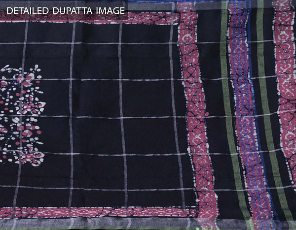 Online Shopping for Blue Pure Linen Dupatta with Hand Batik Prints from Rajasthan at Unnatisilks.comIndia