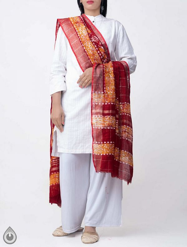 Online Shopping for Red Pure Linen Dupatta with Hand Batik Prints from Rajasthan at Unnatisilks.comIndia