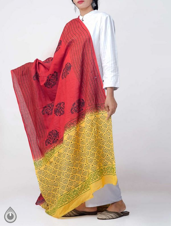 Red Mulmul Cotton Dupatta with Hand Block Prints-UDS2714