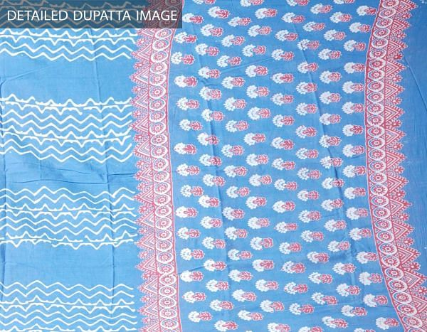 Blue Pure Andhra Cotton Dupatta with Hand block prints