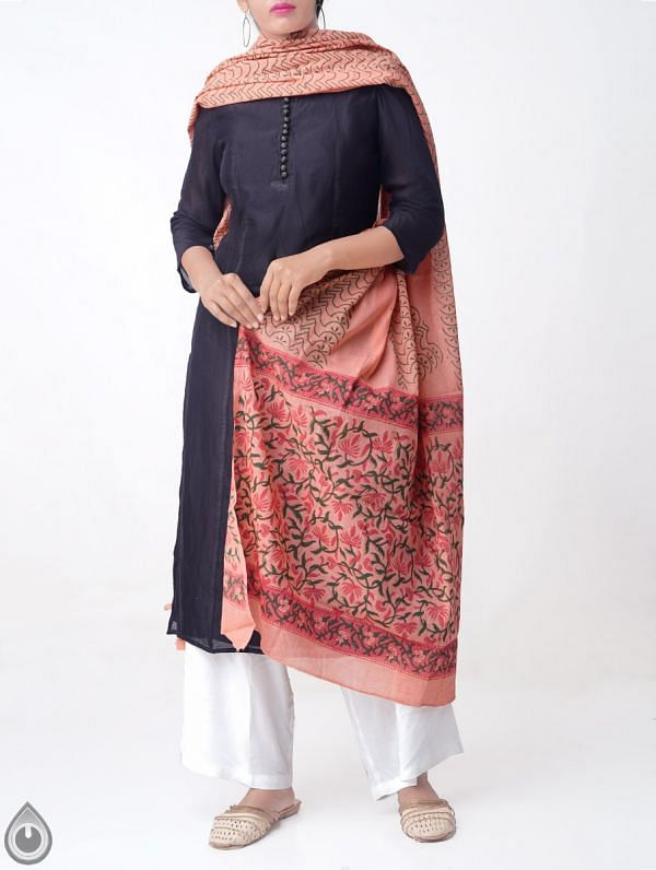 Peach Red Pure Andhra Cotton Dupatta with Hand block prints