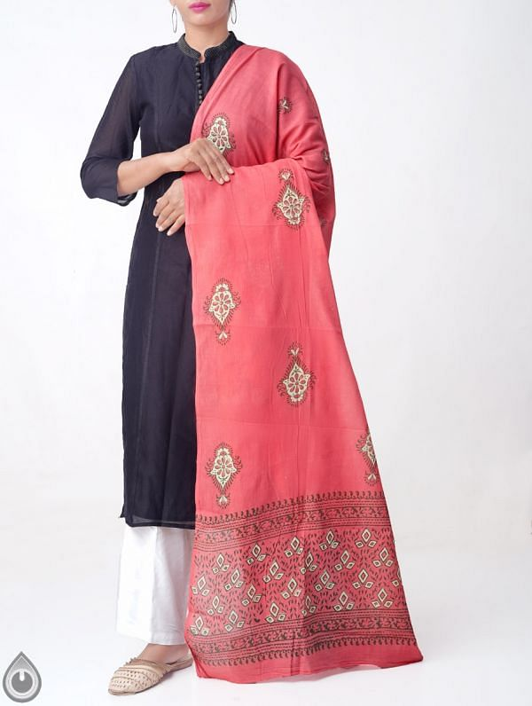 Red Pure Andhra Cotton Dupatta with Hand block prints