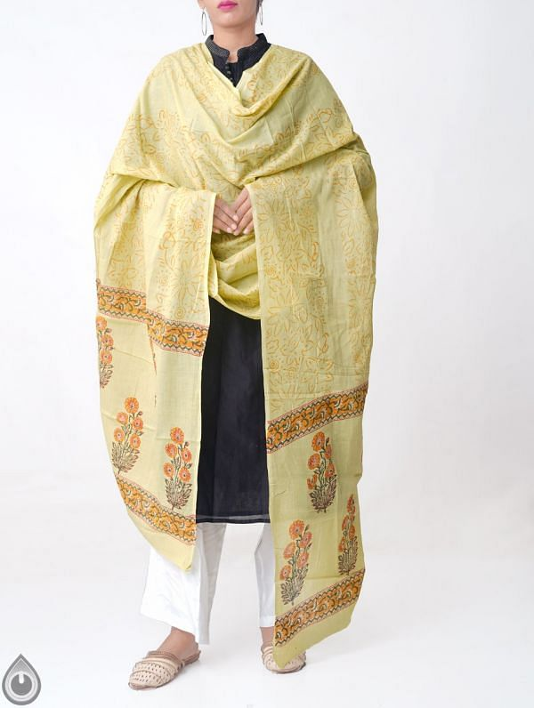 Yellow Pure Andhra Cotton Dupatta with Hand block prints