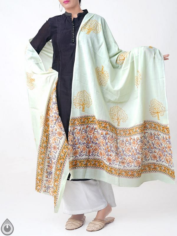 Green Pure Andhra Cotton Dupatta with Hand block prints