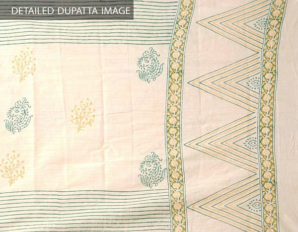 Brown Pure Andhra Cotton Dupatta with Hand block prints