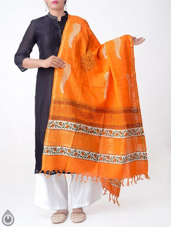 Online Shopping for Orange Pure Andhra Cotton Dupatta with Hand block prints with Hand Block Prints. from Andhra Pradesh at Unnatisilks.comIndia
