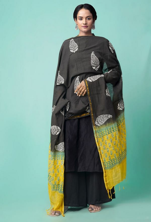 Online Shopping for Black Chanderi Cotton Dupatta with Hand Block Prints with Hand Block Prints from Andhra Pradesh at Unnatisilks.comIndia