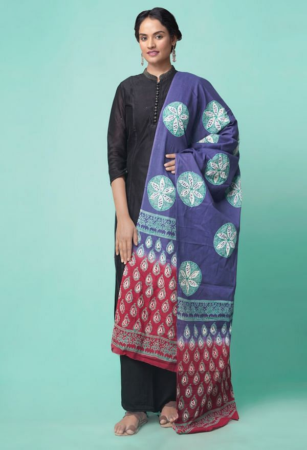 Online Shopping for Blue Mulmul Cotton Dupatta with Hand Block Prints with Weaving from Madhya Pradesh at Unnatisilks.comIndia
