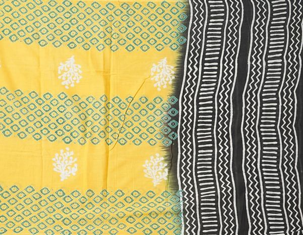 Online Shopping for Yellow Mulmul Cotton Dupatta with Hand Block Prints with Weaving from Madhya Pradesh at Unnatisilks.comIndia