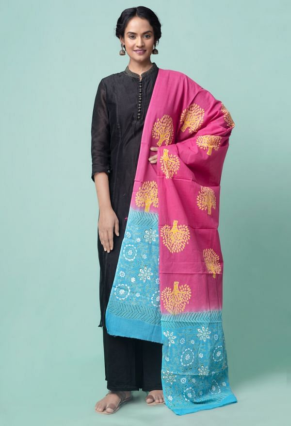 Online Shopping for Pink Mulmul Cotton Dupatta with Hand Block Prints with Weaving from Madhya Pradesh at Unnatisilks.comIndia