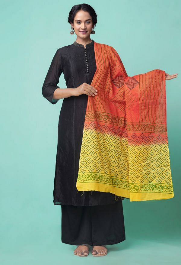 Online Shopping for Red Mulmul Cotton Dupatta with Hand Block Prints with Weaving from Madhya Pradesh at Unnatisilks.comIndia